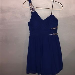 City of Triangles Blue One Shoulder Formal Dress